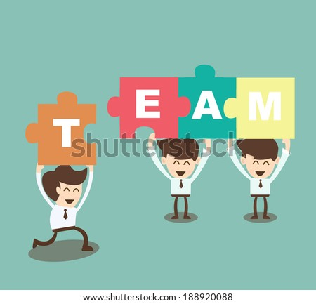 Business men putting together jigsaw the word Team - stock vector