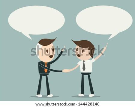 Business men shaking hands and blank speech bubble , vector format eps10 - stock vector