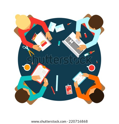 Business men team office meeting concept top view people on table vector illustration - stock vector