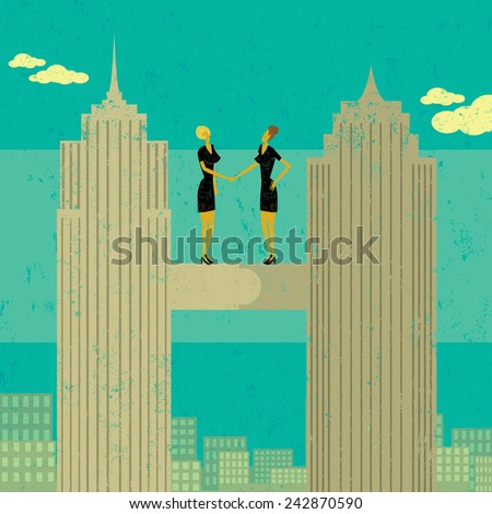 Business Merger Two businesswomen shaking hands after merging their companies together. The women and skyscrapers are on a separate labeled layer from the buildings and background. - stock vector
