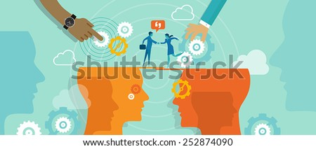 Business metaphor about business collaboration or deals between company - stock vector