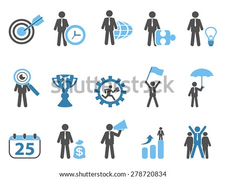 business metaphor icons set blue series - stock vector