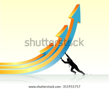 Business Mighty Push-Businessman forcing upward trend conceptual illustration