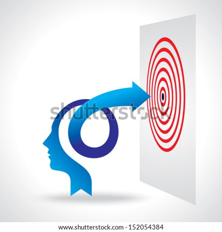 business mind and arrow - stock vector