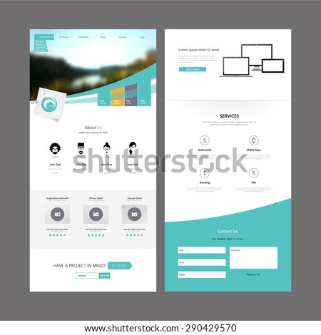 Business Modern Clean One page website design - stock vector