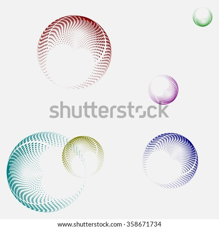 Business modern design - stock vector illustration. Colorful globes - gray background