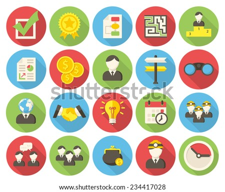 Business, modern flat icons with long shadow - stock vector