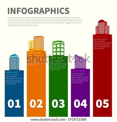 Business modern urban office and private buildings infographics set vector illustration - stock vector