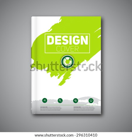 Business modern Vector abstract book cover template with color ink stain, green version - stock vector