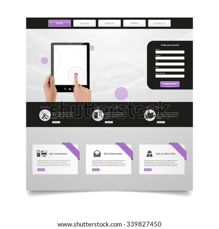 Business Modern Website Template Vector Illustration - stock vector