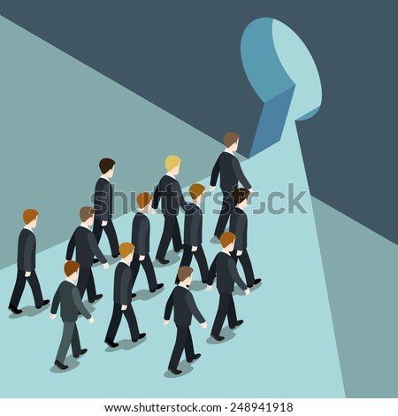 Business movement towards better future solution concept flat 3d web isometric vector. Businessmen goes march to keyhole, way out from trouble problem crisis. Creative people collection. - stock vector
