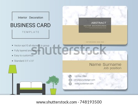 Business name card template interior designer stock vector royalty business name card template for interior designer modern and elegant style with marbling texture imitation reheart Gallery