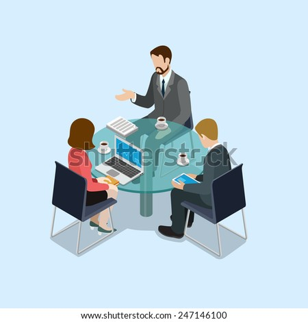 Business negotiations concept flat 3d web isometric infographic vector. Group of businessmen and woman round table talk. Creative people collection. - stock vector
