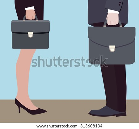 business negotiations of two directors (vector illustration, flat concept) - stock vector