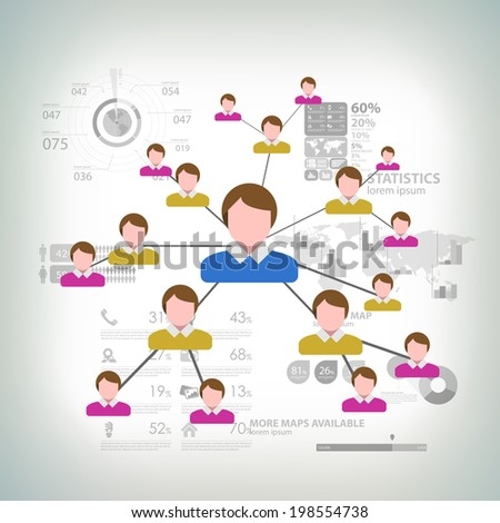 Business Network Concept Present By Multilevel Businessman Connection  - stock vector