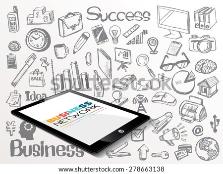 Business Network Idea doodles icons set - stock vector