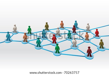 business network illustration with differently colored human figures - stock vector