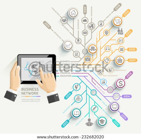 Business network timeline infographic template. Businessman using Tablet. Vector illustration. can be used for workflow layout, banner, diagram, number options, web design. - stock vector