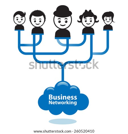 Business networking concept. Businesspeople are connected together via business networking. - stock vector