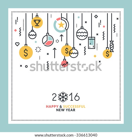 Business New Year's flat line design greeting card. Vector illustration for website banner and marketing material. - stock vector