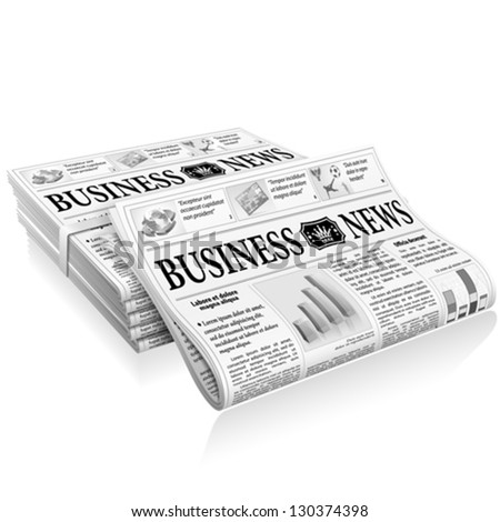 Business News Concept with Stack Newspapers, vector isolated on white background