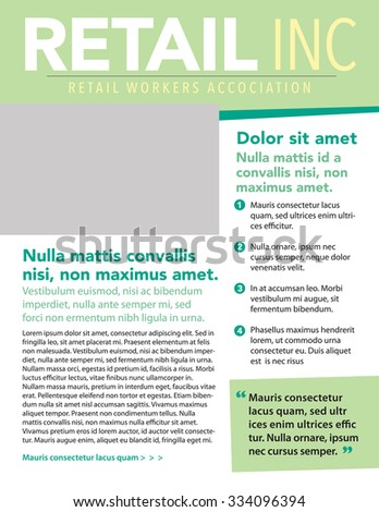 Business newsletter template with list and pull quote - stock vector