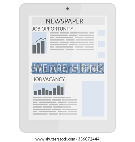 Business newspaper on tablet. Mobile news concept. Tablet and newspaper.  Flat design. We are hiring. Job opportunity, vacancy - stock vector