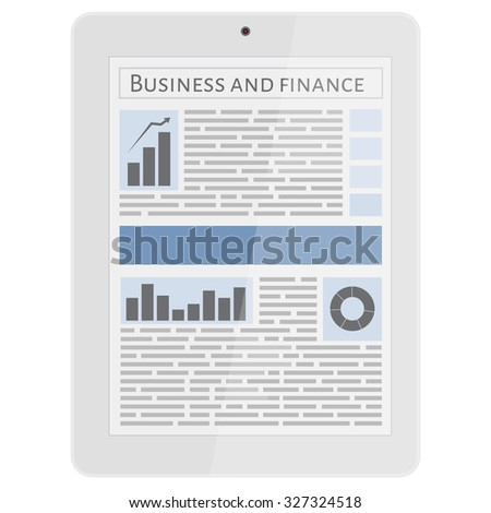 Business newspaper on tablet. Mobile news concept. Tablet and newspaper. Reading online news on tablet concept. Flat design. - stock vector