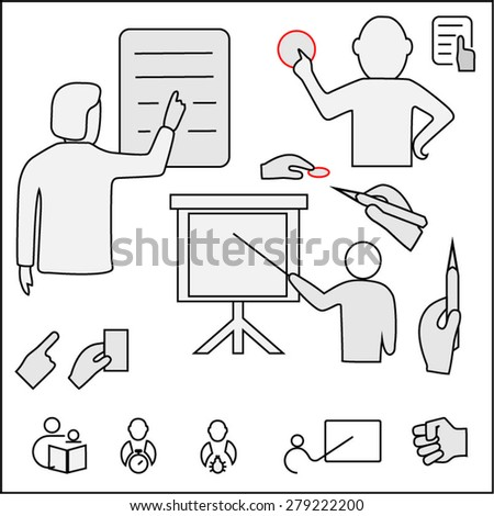 Business. Note hand, a finger, hand-held, pen, pencil, an indication of a certain item. - stock vector