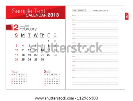 Business notebook with calendar for February 2013 - stock vector
