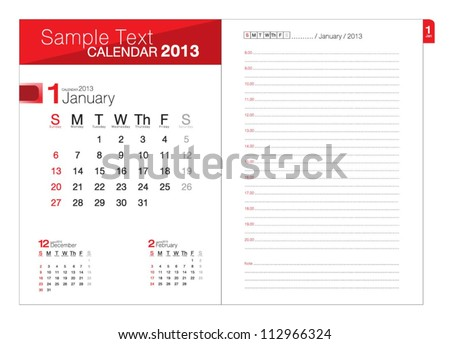 Business notebook with calendar for January 2013 - stock vector