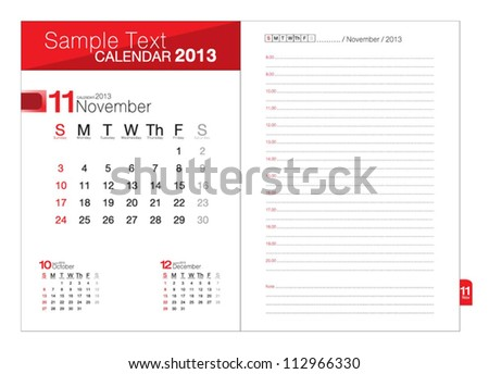 Business notebook with calendar for November 2013 - stock vector