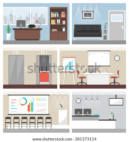 Business office building banner set, with conference room, reception and elevators - stock vector