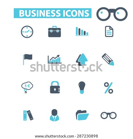 business, office, finance icons, signs, illustrations set, vector - stock vector