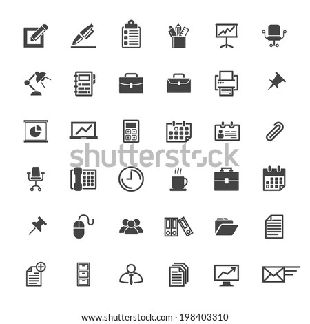 Business Office Icon Set - Vector Graphic - stock vector