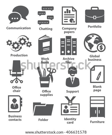 Business office icons - stock vector