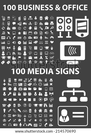 business, office, media icons set, vector on black background - stock vector
