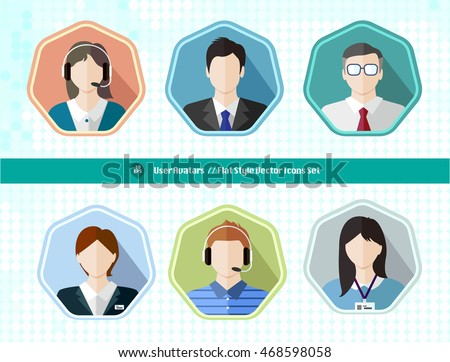 Business office people avatar user long shadow icon. business man, business woman, manager, office lady, customer service, assistant, secretary, staff. Style is a flat symbol on a heptagon background