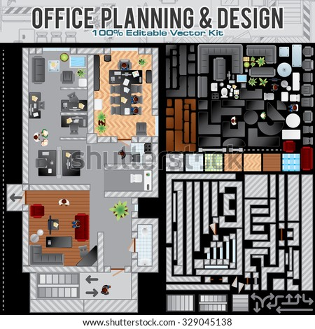 Business Office Planning Creation Kit. Kit Including: Construction Office Accessories, Elements, Various Furniture, Interior Objects and Items. - stock vector