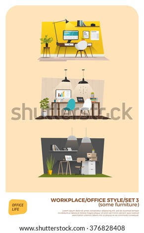 Business office set - stock vector
