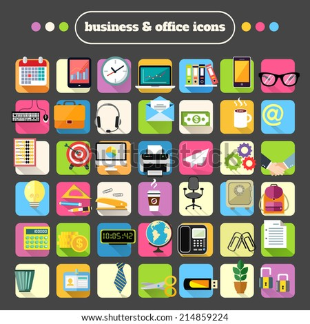 Business office stationery supplies flat icons set for website design or infographics isolated vector illustration - stock vector