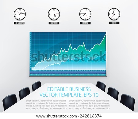 business office with empty conference desk stock charts on wall screen and world clocks