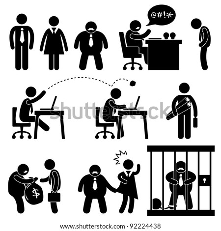 Business Office Workplace Situation Boss Manager Icon Symbol Sign Pictogram Concept