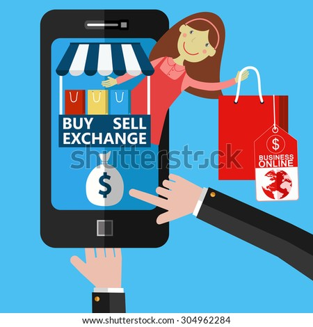Business on mobile phone. Concept of global trade. Vector illustration - stock vector