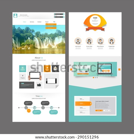 Business One Page Website Design Template Stock Photo (Photo, Vector ...