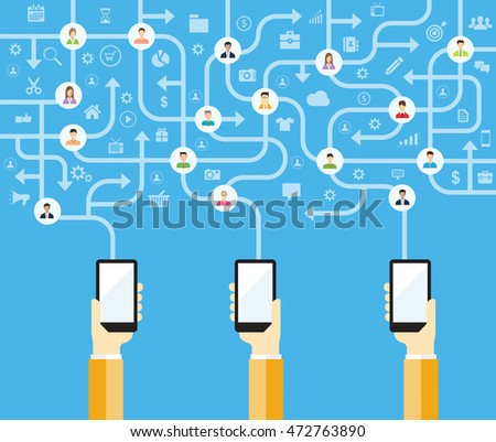 business online connect and mobile social concept.flat vector and cloud technology concept.hand hold mobile.