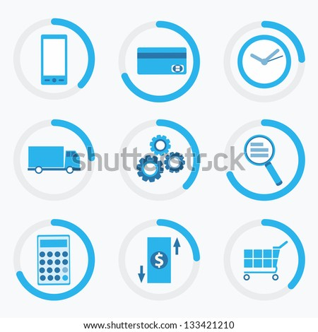 business online icons - stock vector