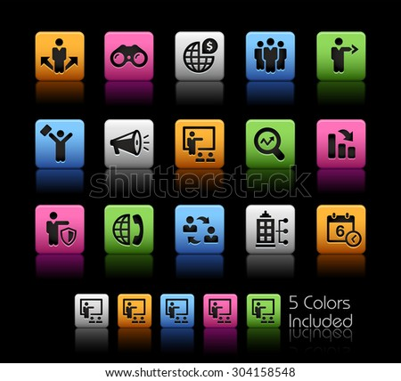 Business Opportunities and Strategies // ColorBox Series ---- The Vector file includes 5 color versions for each icon in different layers -- - stock vector