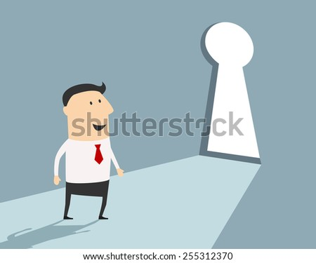 Business opportunity concept with a businessman standing in front of a large keyhole in the wall, flat style - stock vector