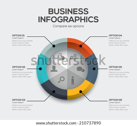 Business options vector. Modern ui infographics with six choices - stock vector